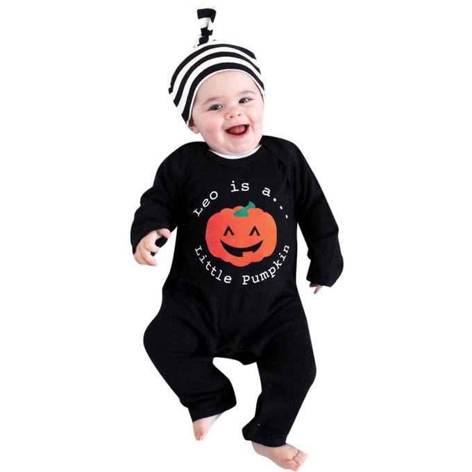 0515cba02 Newborn Infant Baby Girls Boys Cartoon Print Romper Jumpsuit Halloween  Outfits- Black