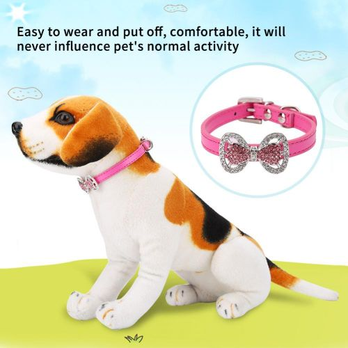 Cute Fashionable PU Leather Rhinestone Bowknot Dog Puppy Cat Necklace Pet  Supplies (Rose Red)
