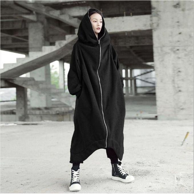 b941d9b26c3 ZANZEA Fashion Full Sleeve Hooded Long Jacket Zipper Pockets Irregular Hem  Solid Fleece Coat Women Winter
