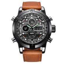 56479de0f Hiamok Luxury Dual Movt Men's Leather Quarz Analog Digital LED Sport  Wrist
