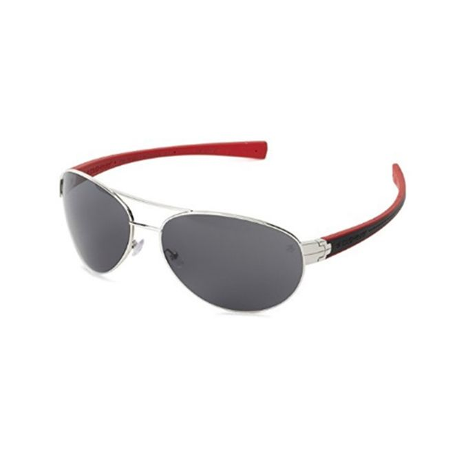 f646ae37e956 Tag Heuer Outdoor Silver Metal Front Aviator Shape And Black   Red Rubber  Temple With Grey