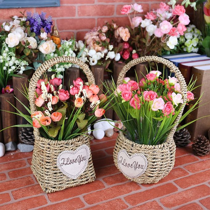 Creative Plant Fiber Flower Pot Stylish Plant Pot Home Office Decoration Gift Color:Water Grass Rope Color Size:Round: Diameter 12 Deep 10 Total Height 28 –  مصر