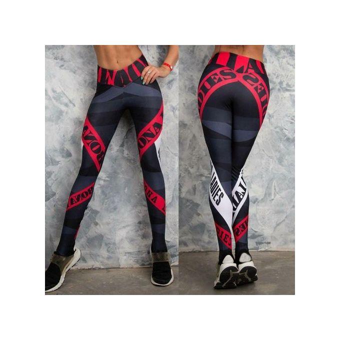 Fashion Style Women Sports Gym Yoga Workout Mid Waist Running Pants Fitness Elastic Leggings
