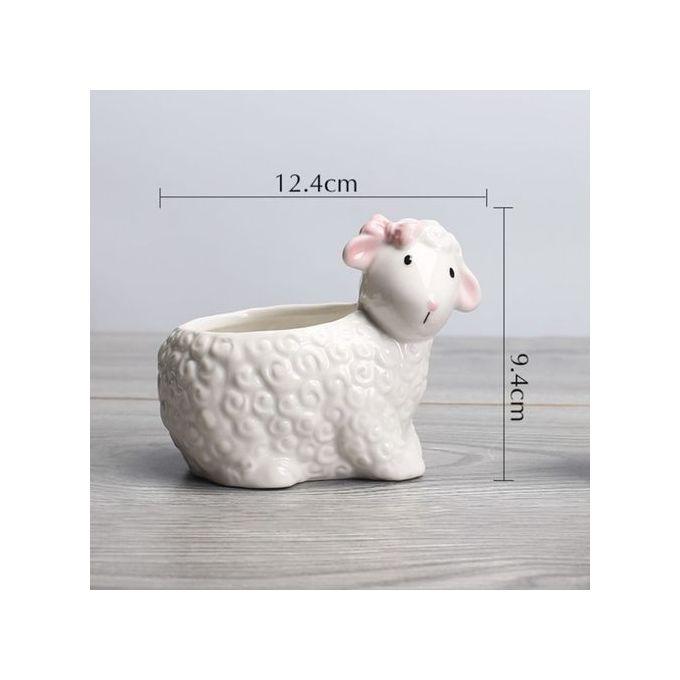 Cute Creative Ceramic Flower Pot Sheep Shape Hydroponic Plant White Flowerpot Color:white Specification:Sheep 12.4 * 9.4cm –  مصر
