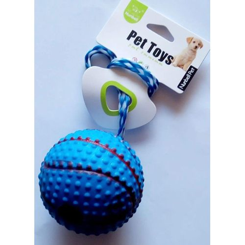 Dogs & Cats Rubber Basket-Ball With Rope - Blue