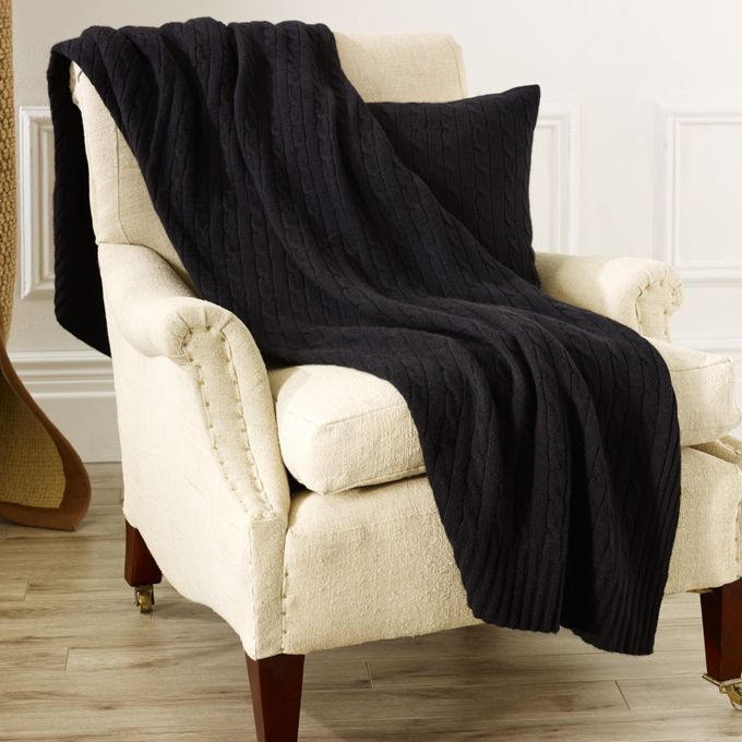 Cable Cashmere Throw Blanket –  مصر