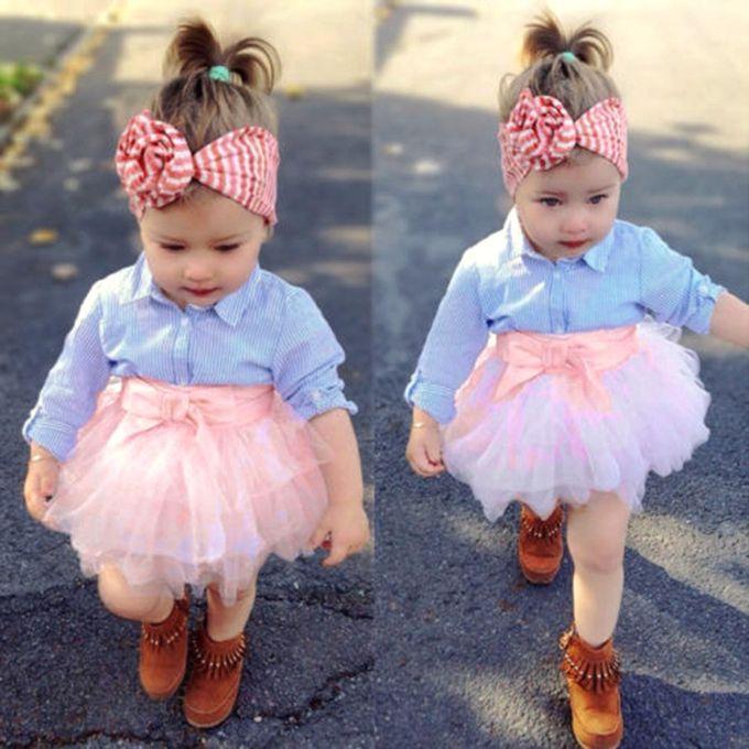sale on fashion2pcs toddler baby girls bow striped tops tutu skirt