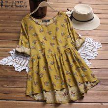 0c8f88b224ce0 ZANZEA Women Casual Plus Size Cotton Blouse Shirt Vintage Boho Floral Top