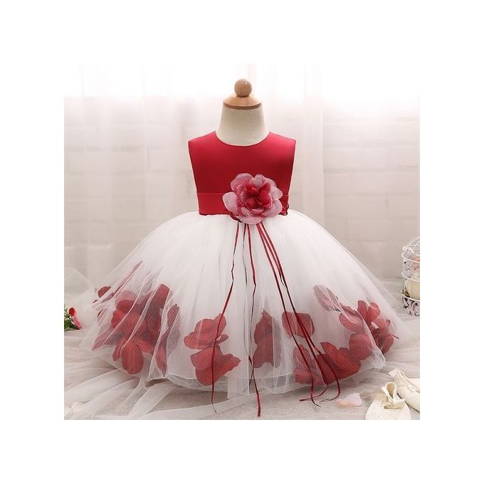 fbf46bff96a56 New Lovely Baby Girls Dress Fluffy Child Skirt Sleeveless Princess Dress  With Flower-Red