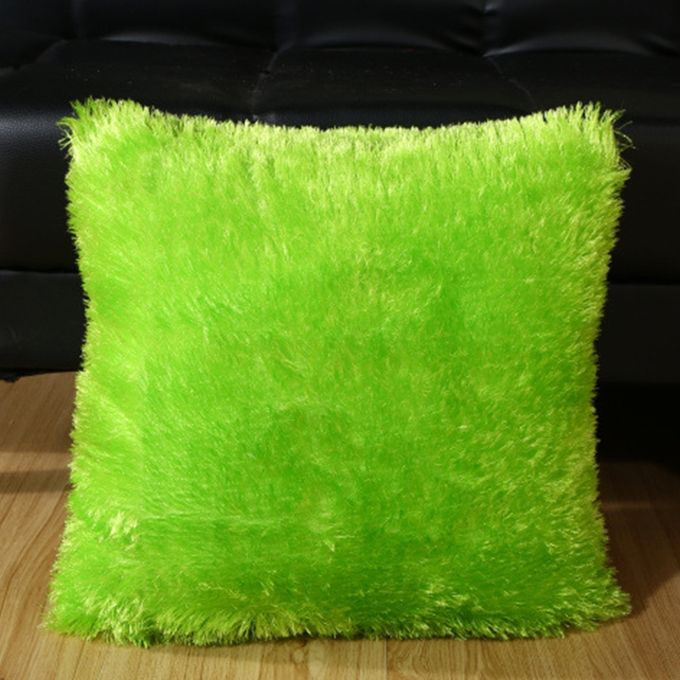 Soft Plush Square Pillow Case Car Sofa Waist Throw Cushion Cover Home Decoration Color:Apple Green Size:45*45cm –  مصر