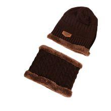 80d2903ae33 Men Winter Warm Fleece Camping Hat Beanie Baggy Wool Ski Cap + Scarf Coffee