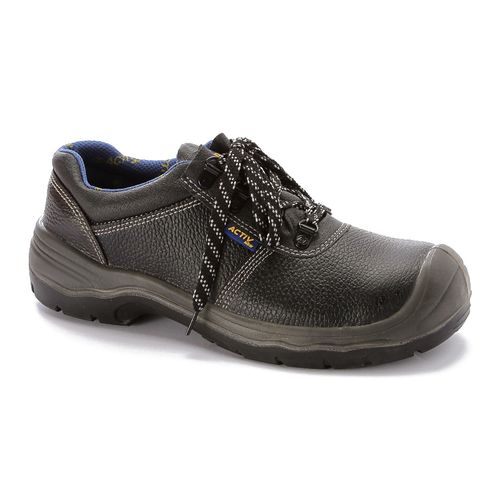 Leather Safety Shoes - Black & Dark Blue