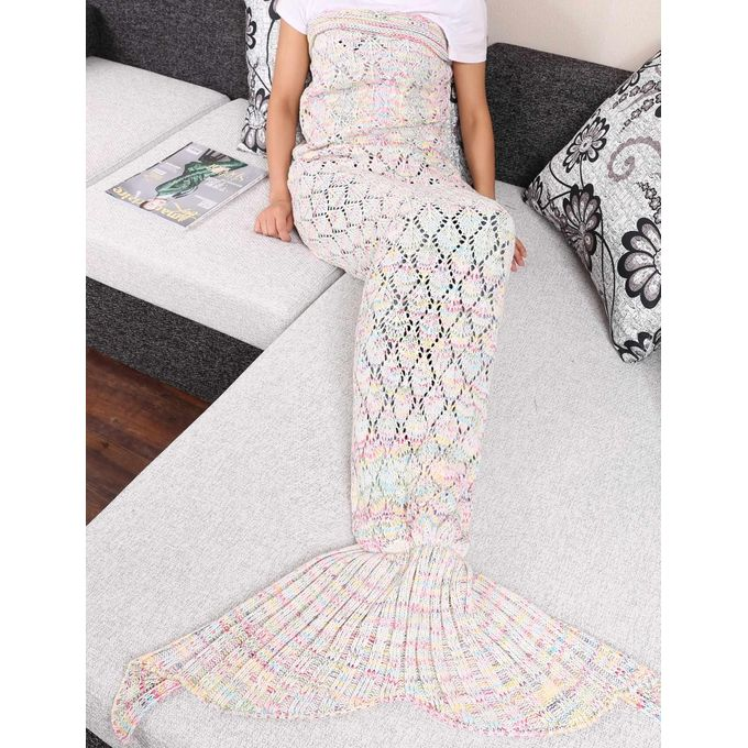 Adult Handmade Knitted Crochet Colorful Mermaid Tail Shape Blanket Sleeping Sofa Blanket –  مصر