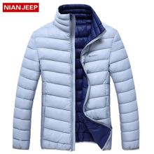 0964dcd0d50 NIAN JEEP Winter Travel Thicken Warm Lightweight Stand Collar Solid Color  Jacket For Men Silver