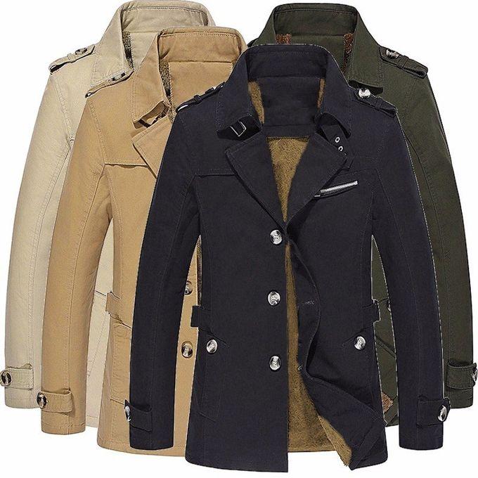 20d4668775b ... Winter Mens Fleece Coat Warm Thicken Jacket Long Overcoat Slim Casual  Jacket (Black)