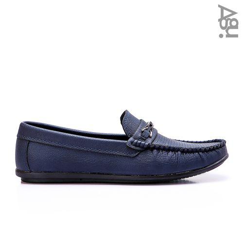 حذاء جلد كاجوال سهل الارتداء - كحلي