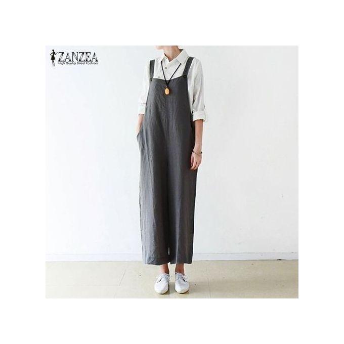 f61e3e8470 ZANZEA Womens Dungaree Overalls Playsuits Romper Wide Leg Loose Long Pants  Dark Grey