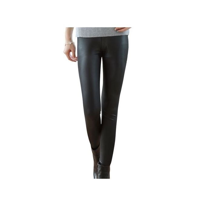 0b65d819b337e5 Women Sexy Shiny Metallic Brushed High Waist Pants Black Stretchy Faux  Leather Leggings Plus Size