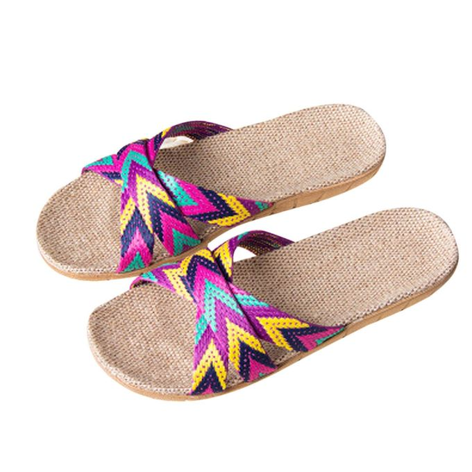 e77a60071581 Hiamok Women Men Anti-slip Linen Home Indoor Summer Open Toe Flats Shoes  Slippers