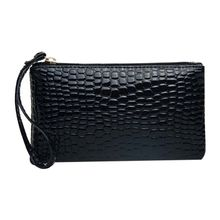 8b5a9402c Crocodile Pattern Women Wallet Purse Card Phone Holder Makeup Bag Handbag  Black