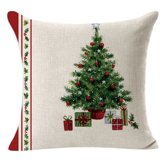 Christmas Linen Square Throw Flax Pillow Case Decorative Cushion Pillow Cover A –  مصر