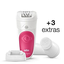 Silk-épil 5 5-539 – Wet&Dry Cordless Epilator with 3 Extras Including A Facial Cleansing Brush