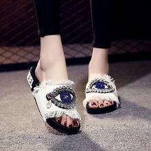 ffb081f53 ربيع المرأة السيدات بنات كريستال شقة الصنادل النعال أحذية الشاطئ وايت
