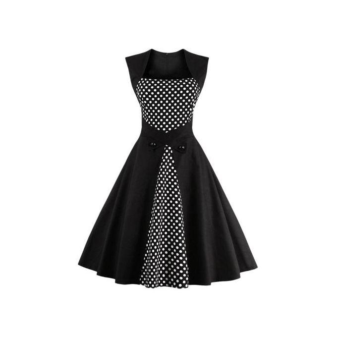 6a60453c43c1 Sale on Polka Dot Semi Formal Midi Skater Dress - BLACK