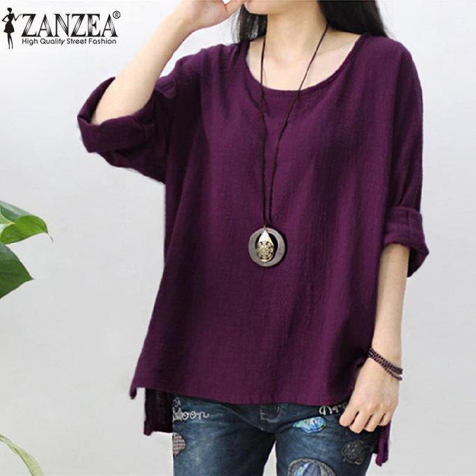 1fc43aa00f ZANZEA Womens Retro O Neck Long Sleeve Split Baggy Cotton Linen Casual  Loose Solid Party Tops