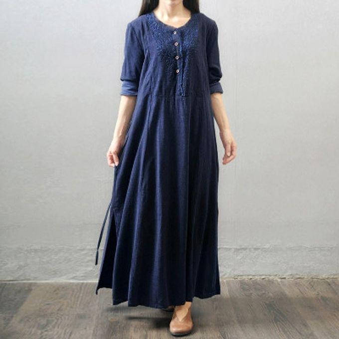 ZANZEA Oversized Vestidos Women Retro Long Maxi Dress Long Sleeve Lace  Embroidery Buttons Casual Loose Elegant 3bace4c19d