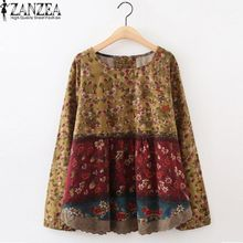 08f6f0f1e49 ZANZEA Flower Printed Top Women O Neck Shirt Long Sleeve Patchwork Floral  Blouse Wine Red -