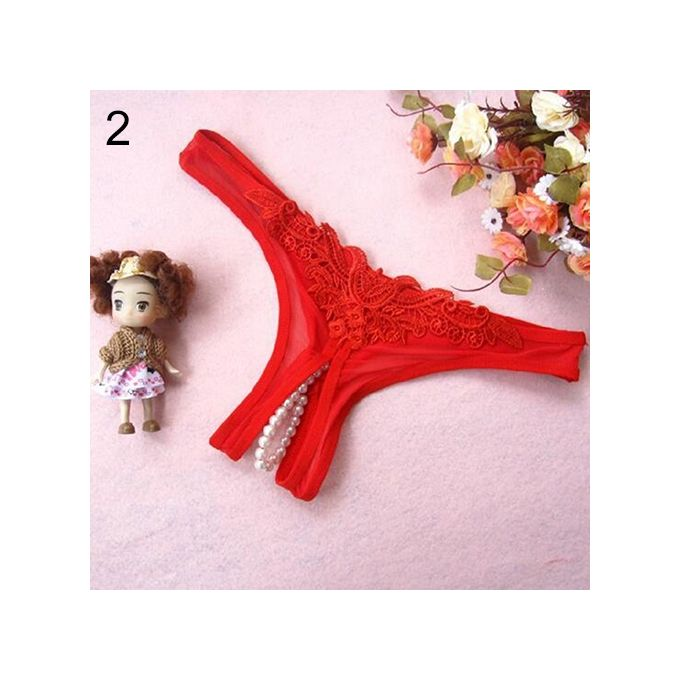 Women s Sexy Lace Thongs G-String V-String Panties Knickers Lingerie  Underwear-Red 69635daa4