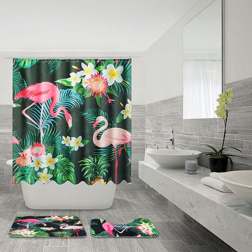 4 Piece Bathroom Set Shower Backing Rug Carpet Mat Bath Toilet Cover Mats