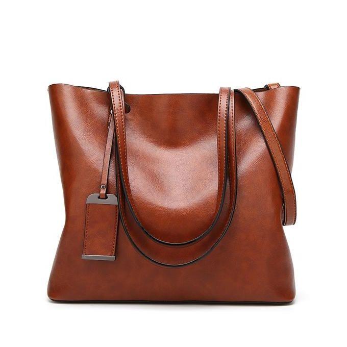 5e4e6bd7e580 Women Oil Leather Tote Handbags Vintage Shoulder Bags Capacity Shopping  Crossbody Bags #brown