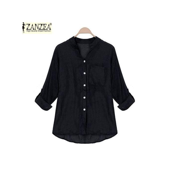 f64656b5eb0745 ZANZEA Korean Style Women Linen Shirts Thin V-Neck Long Sleeve Blouse  Casual Tops Blusas