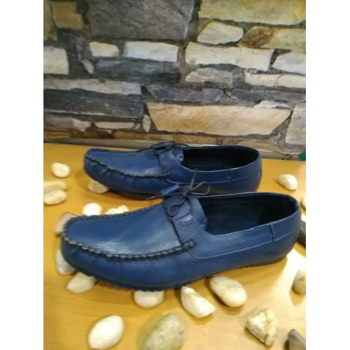 Men's Leather Solid Casual Shoes - Navy Blue