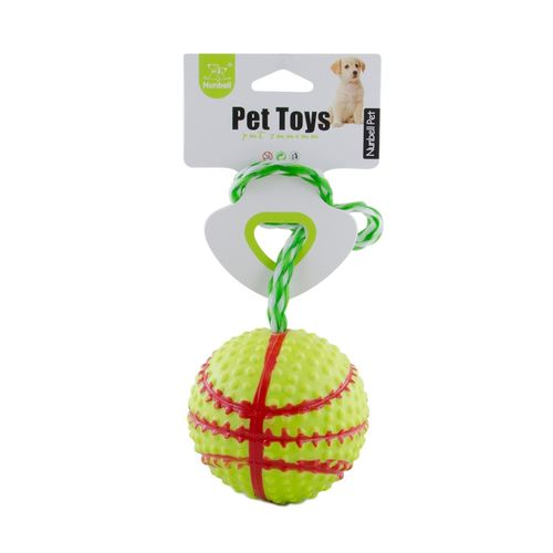 Dogs & Cats Rubber Basket-Ball With Rope - Yellow