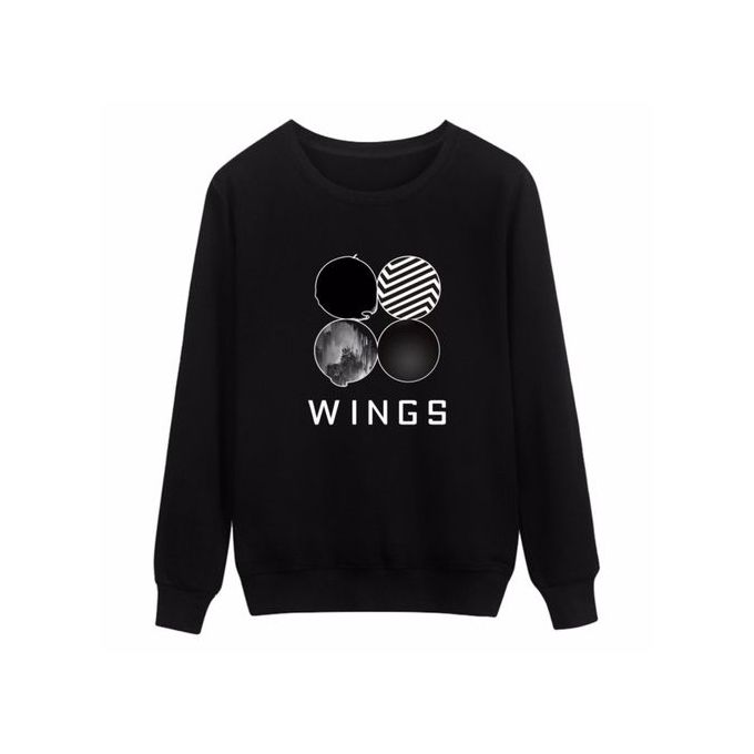 6b553d038f Cool BTS KPOP WINGS Sweatshirts Hooded Letter Printed O-neck Long Sleeves  Cotton Couple Women