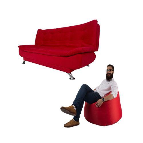 Sofa Bed + Bean Bag   Red