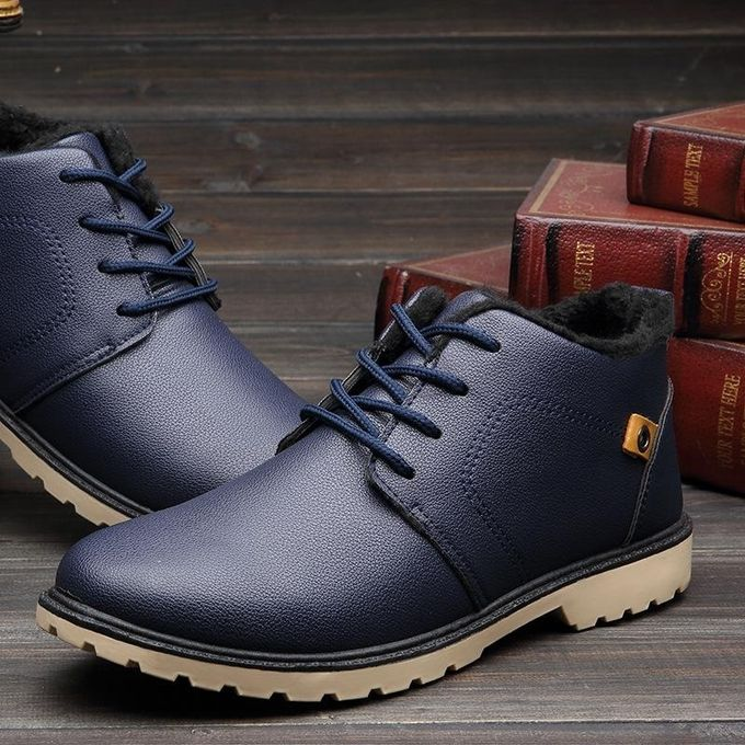 f17d7187630 Mens Winter High Top Ankle Boots Casual Leather Shoes Sports Gym Sneakers  2017