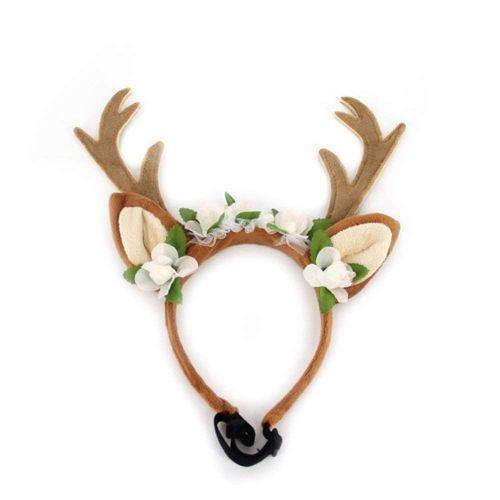 Dog Elk Antler Reindeer Hat Cap Dog Cat Pet Christmas Costume Outfits Small Big Dog Hat Headwear Hair Grooming Accessories M
