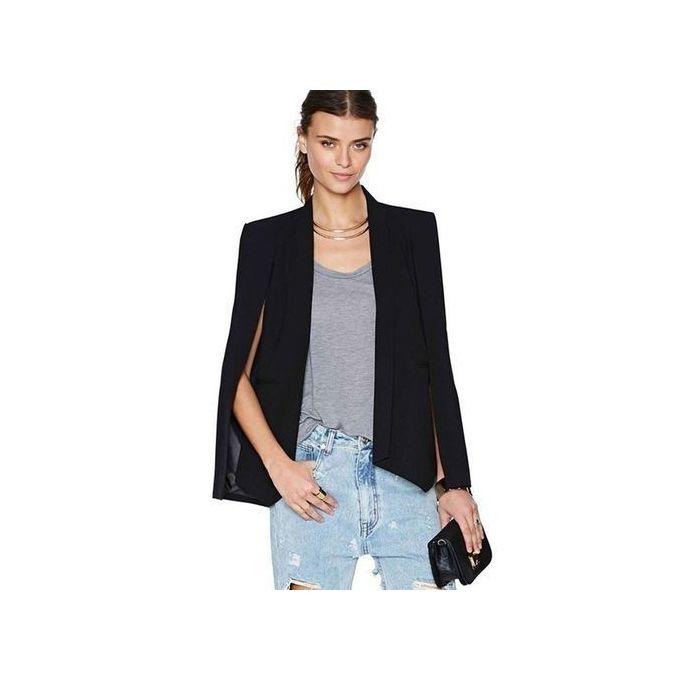 1d2171b3b56ee Fashion Women Long Sleeve Lapel Cape Casual Split Poncho OL Jacket Cloak  Coat Blazer Suit-