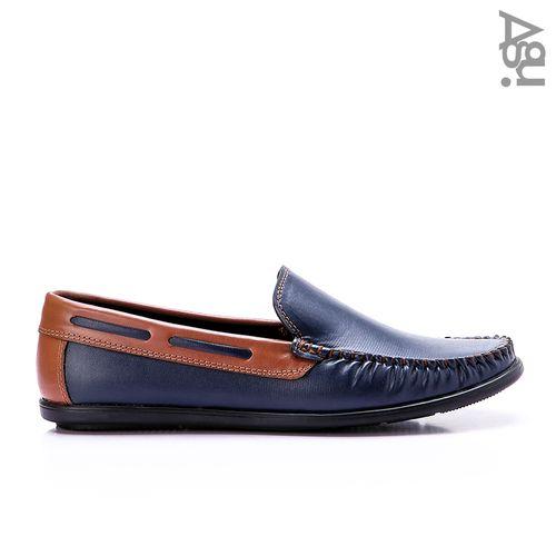 حذاء جلد سهل الارتداء - كحلي وهافان