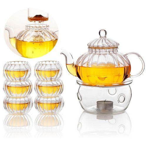 600ml Pumpkin 6 Cups+Taepot+Warmer Clear Tea Double Wall Glass Pot Infuser Set