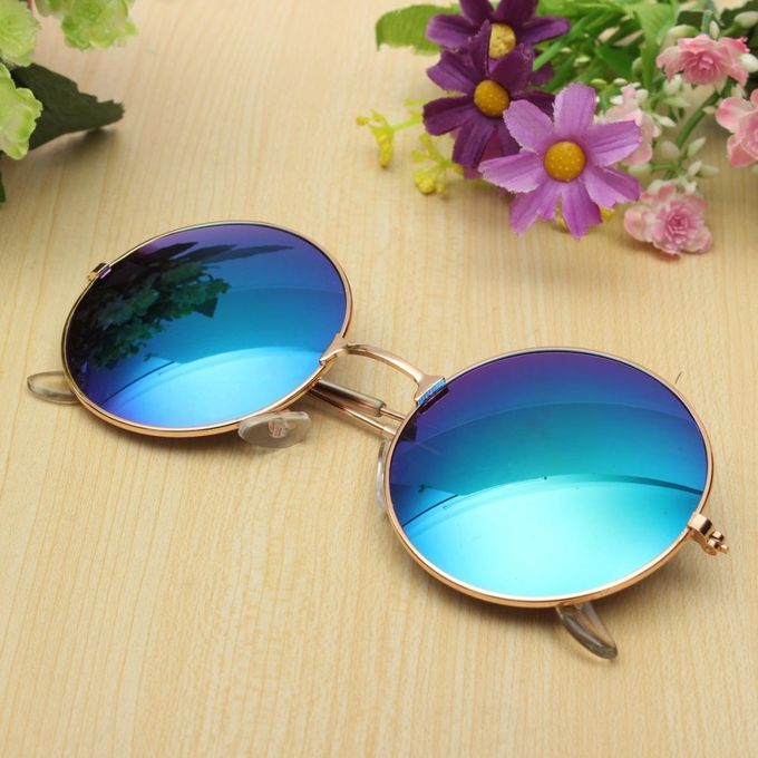 Retro Vintage Men Women Big Round Metal Frame Sunglasses Glasses Eyewear Fashion