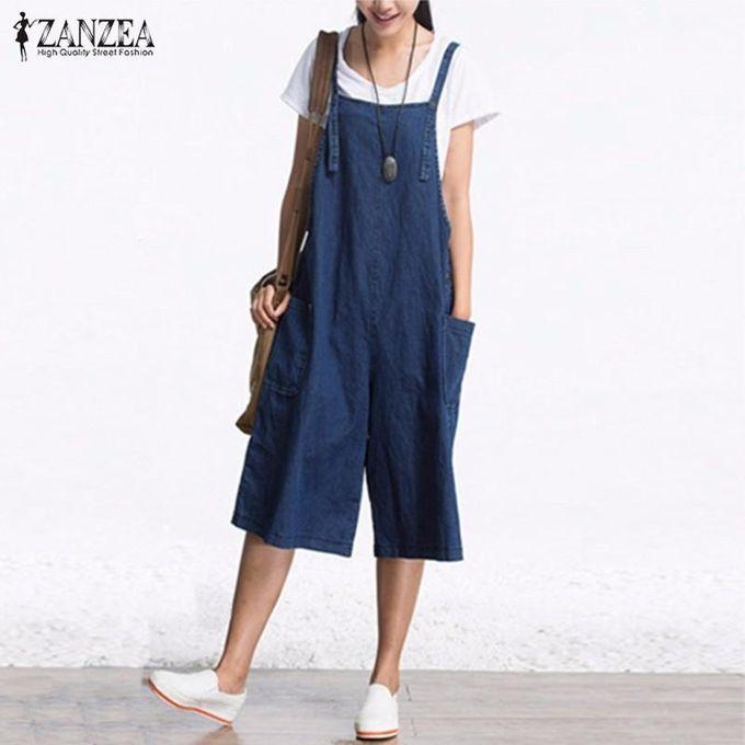 9030d4715b07 ZANZEA Rompers Womens Jumpsuit Summer Autumn Sleeveless Fashion Wide Leg Pants  Denim Calf Length Vintage Overalls