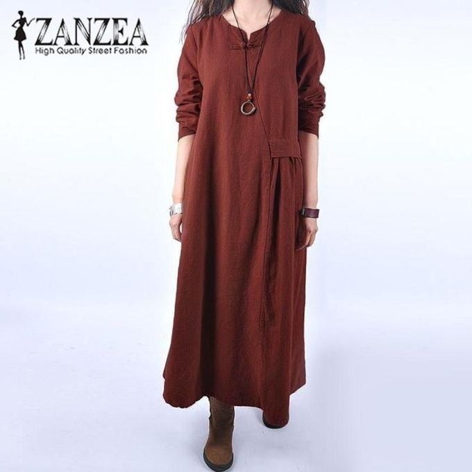f4a9558a14c4 ZANZEA Women Retro Autumn Cotton Linen Midi Dress Crew Neck Button Long  Sleeve Casual Loose Long