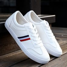 a5a128b02 أحذية بيضاء تنفس جديدة عارضة أحذية رجالية أحذية طالب الكورية للمساعدة في  انخفاض الأحذية-أبيض