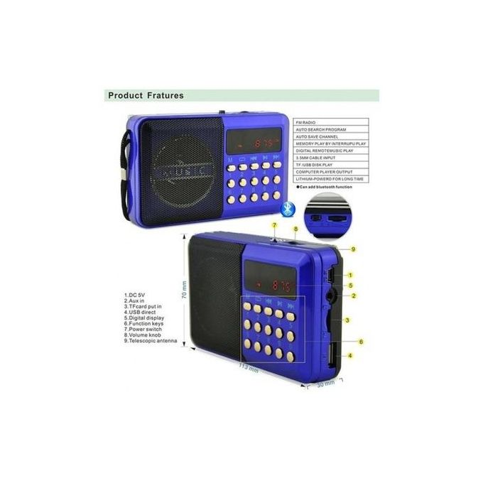 Digital Selects Music Player - FM Radio - Blue
