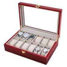 21afc7534 2019 12 Watch Display Wood Case Top Glass Jewelryganizesr Storage Boxes Men  Gifts